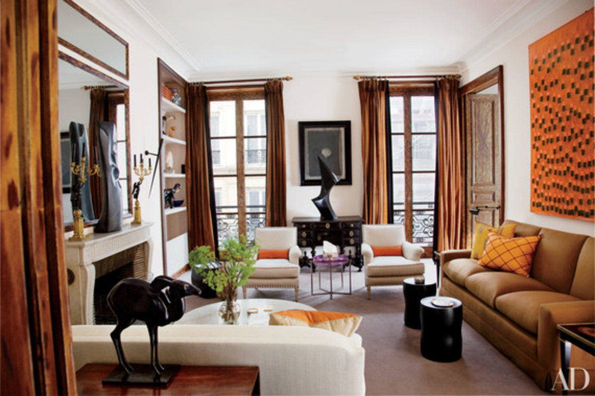 This city apartment is decorated in fall shades of brown, cognac, rust and gold.