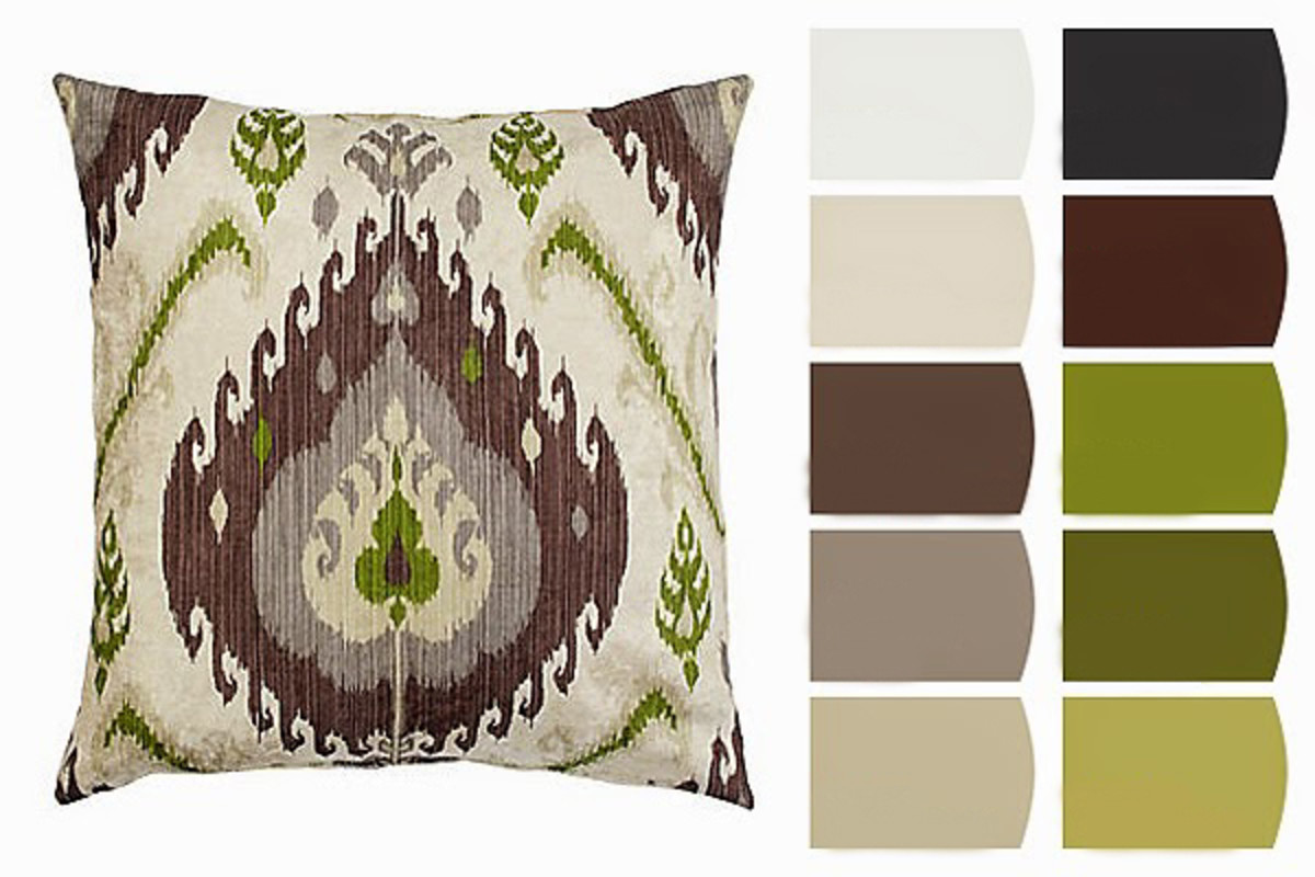 Choose shades from an elegant pillow as the focus of your color scheme. Make it pop by painting the walls one of the lighter hues from your inspiration chip.