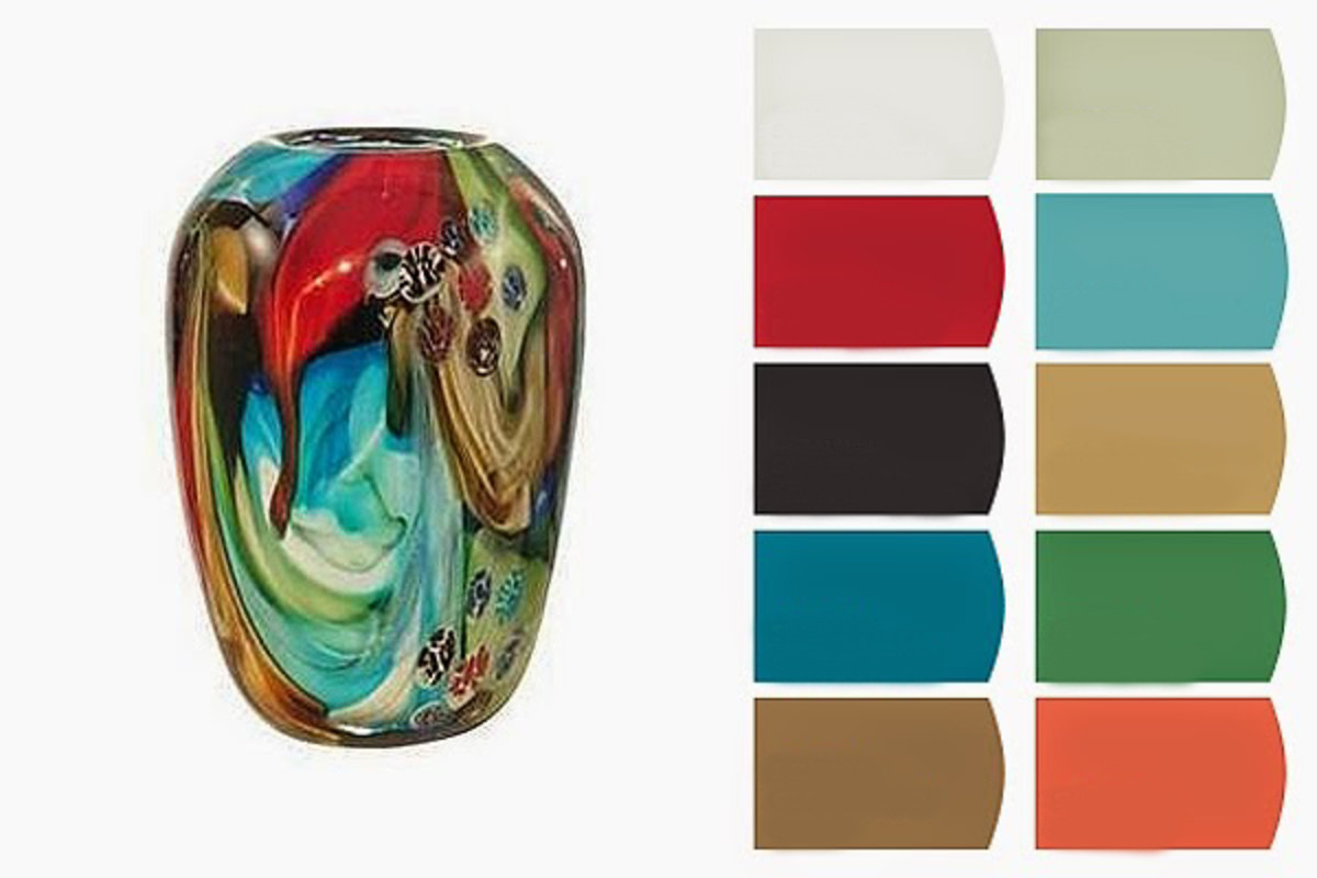 Give a cherished accessory the prominence it deserves. A simple Murano-inspired vase, with its rich colors and depth, opens up a variety of vibrant color choices for a room.