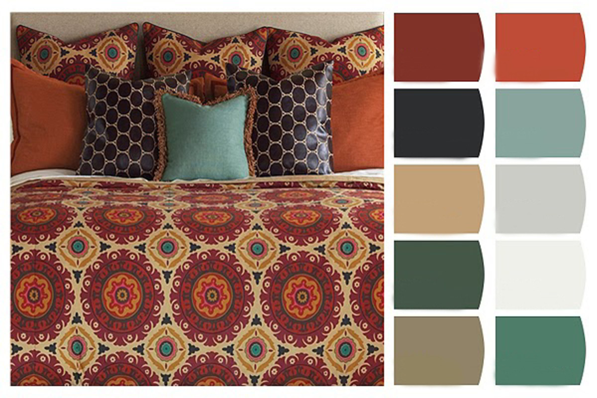 Pull inspiration from colors in your bedding to create a soothing color scheme guaranteed to produce sweet dreams. Utilize your existing bedding or find an ensemble reminiscent of an exotic locale.