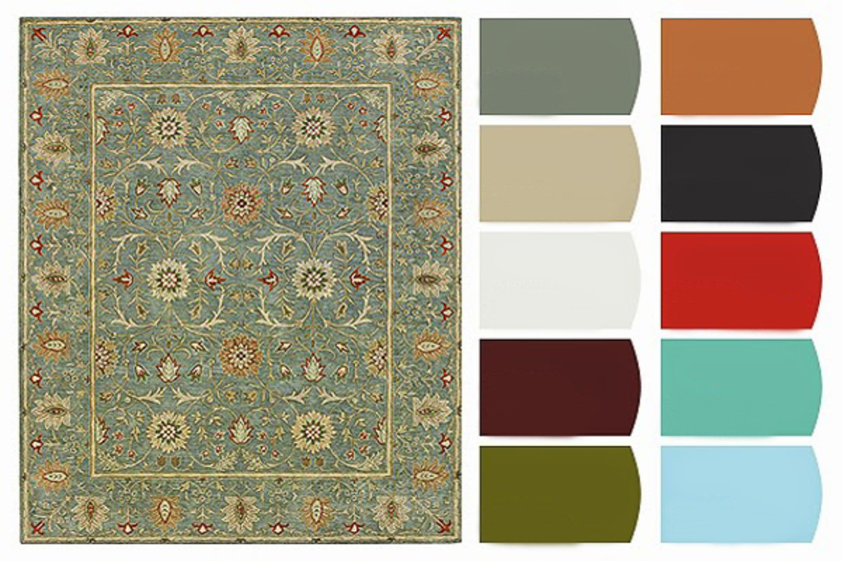Consider the colors from a rug that you love. Rugs ground a room and delineate space. A Persian area rug with muted florals can set the tone for an entire room.
