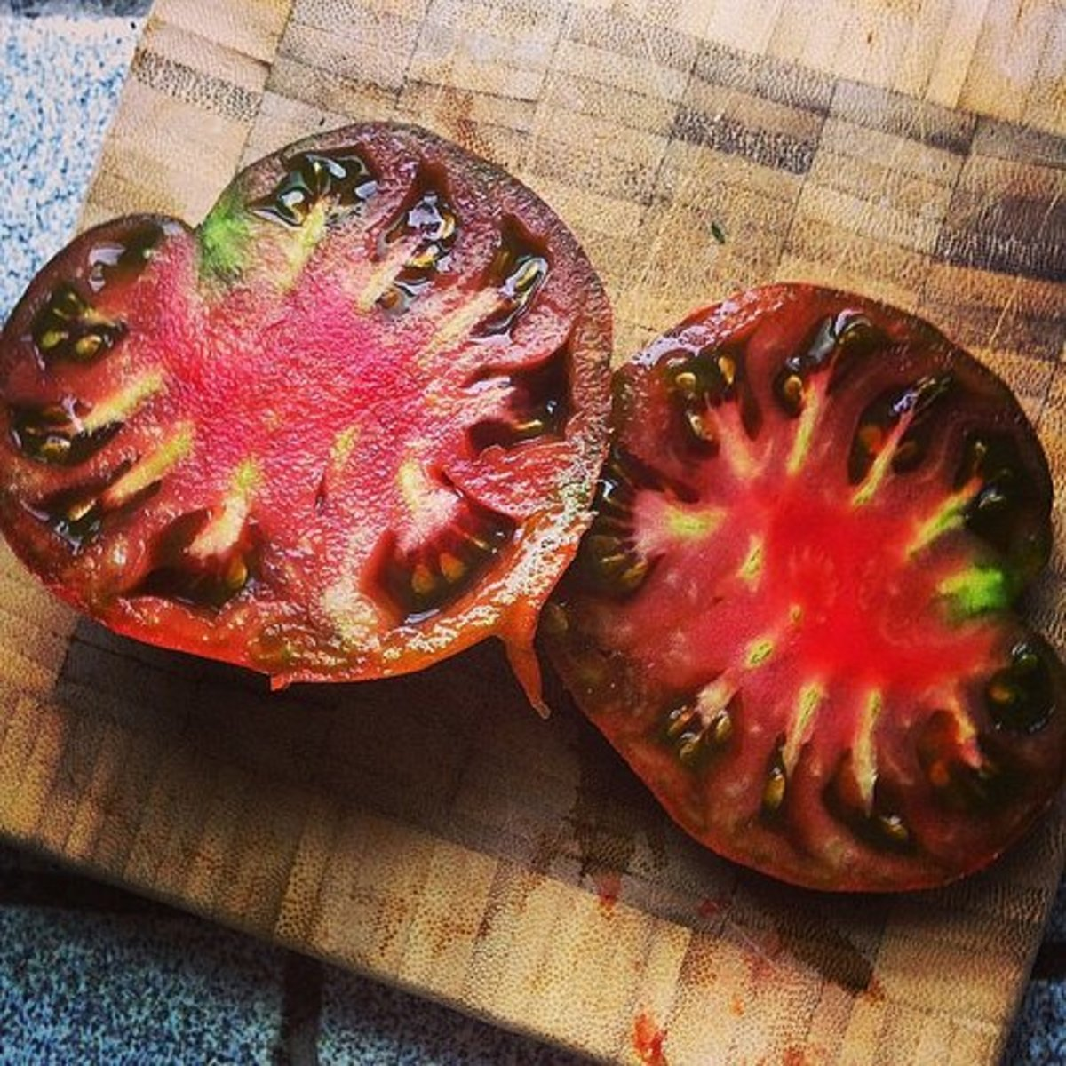 Black Krim tomato sliced