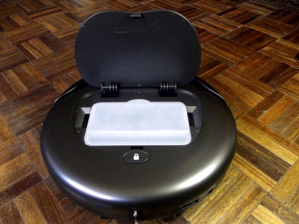 View of Kobot RV353 Slim Series Robotic Vacuum's dust bin