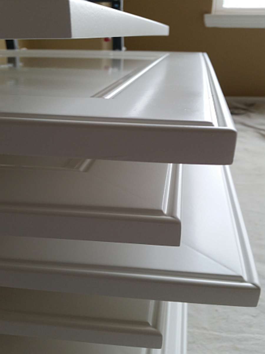 Cabinets painted with self-leveling paint.