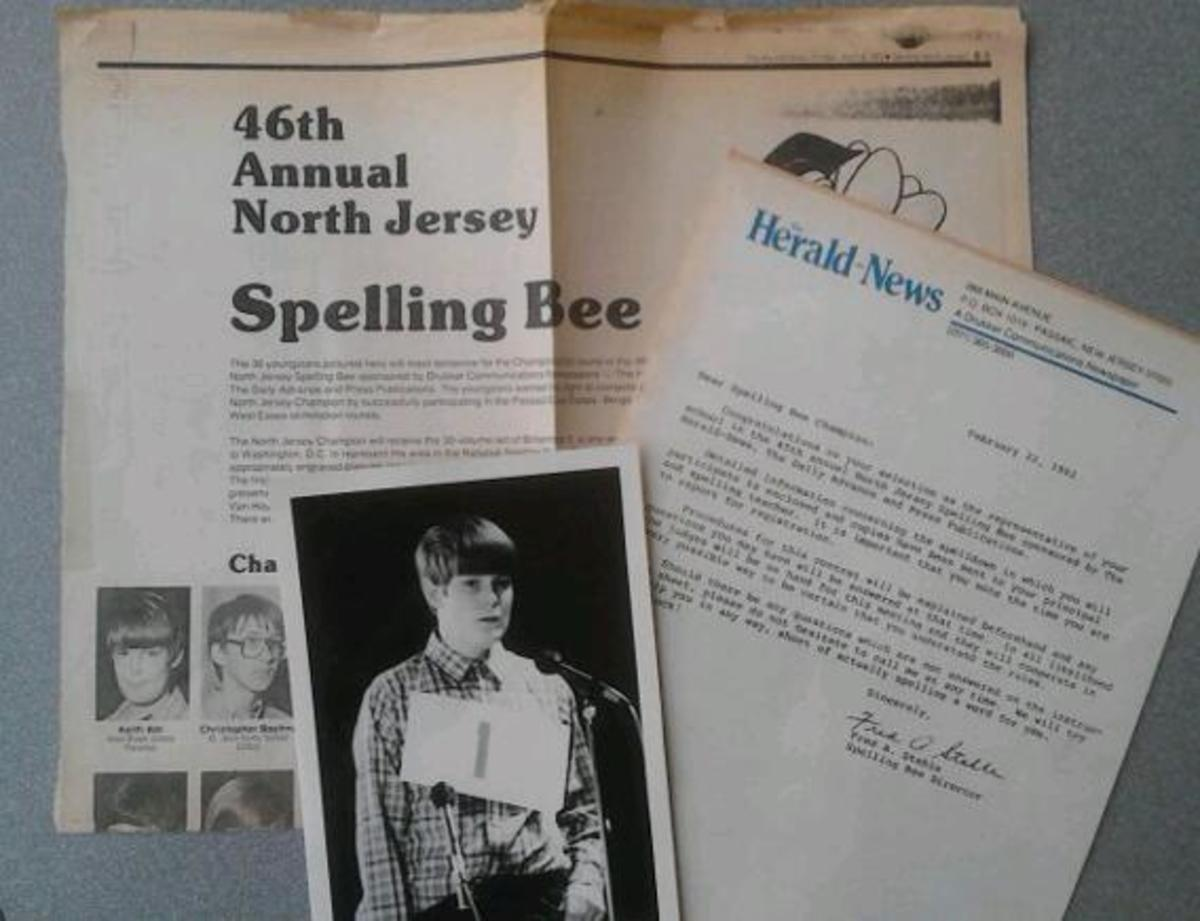 Some clips & pics from my Spelling Bee career