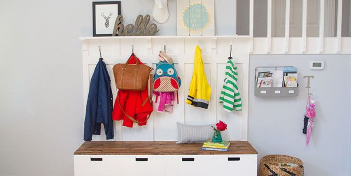 Wall hooks are an easy way to keep each family member's stuff in its place.