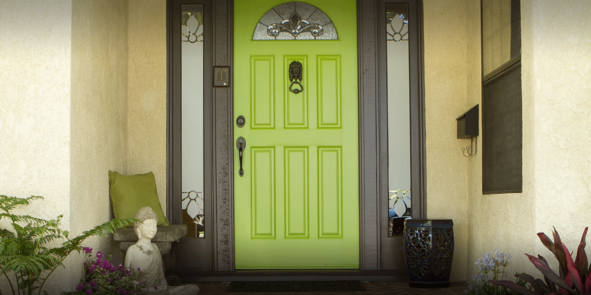 This bright chartreuse paint adds a fun contrast against the gray trim.