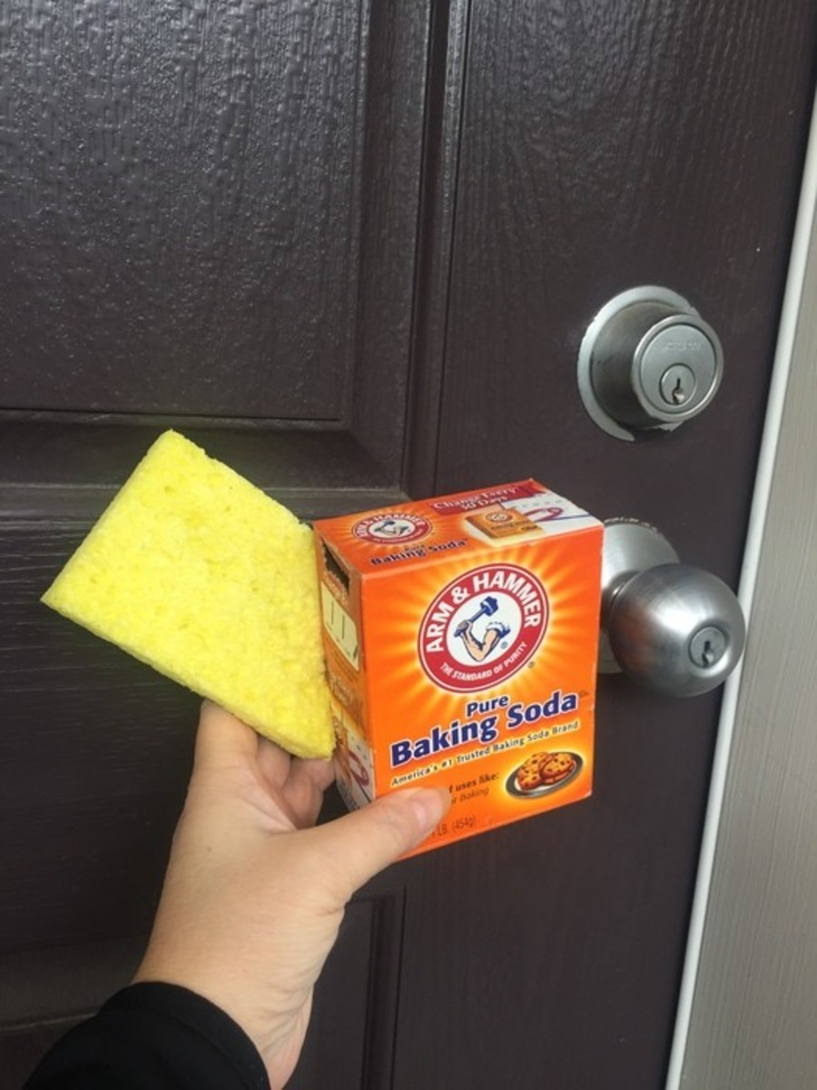 A mixture of baking soda and water is a cheap and easy way to give your front door a good cleaning.