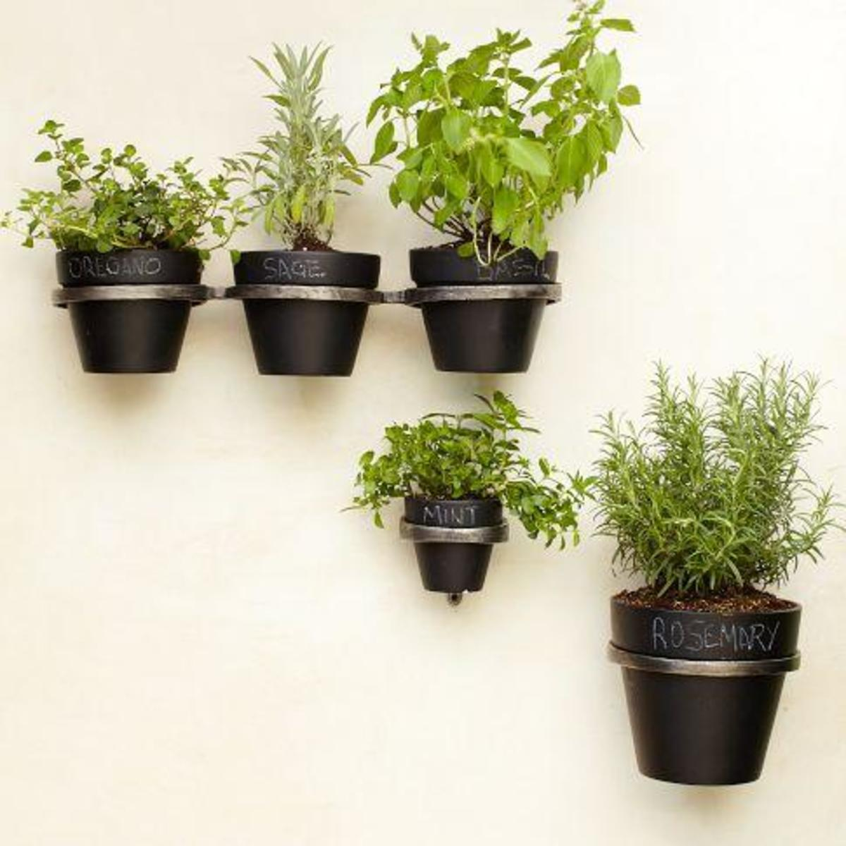 These chalkboard planter holders are stylish and perfect in the kitchen for cooking herbs.