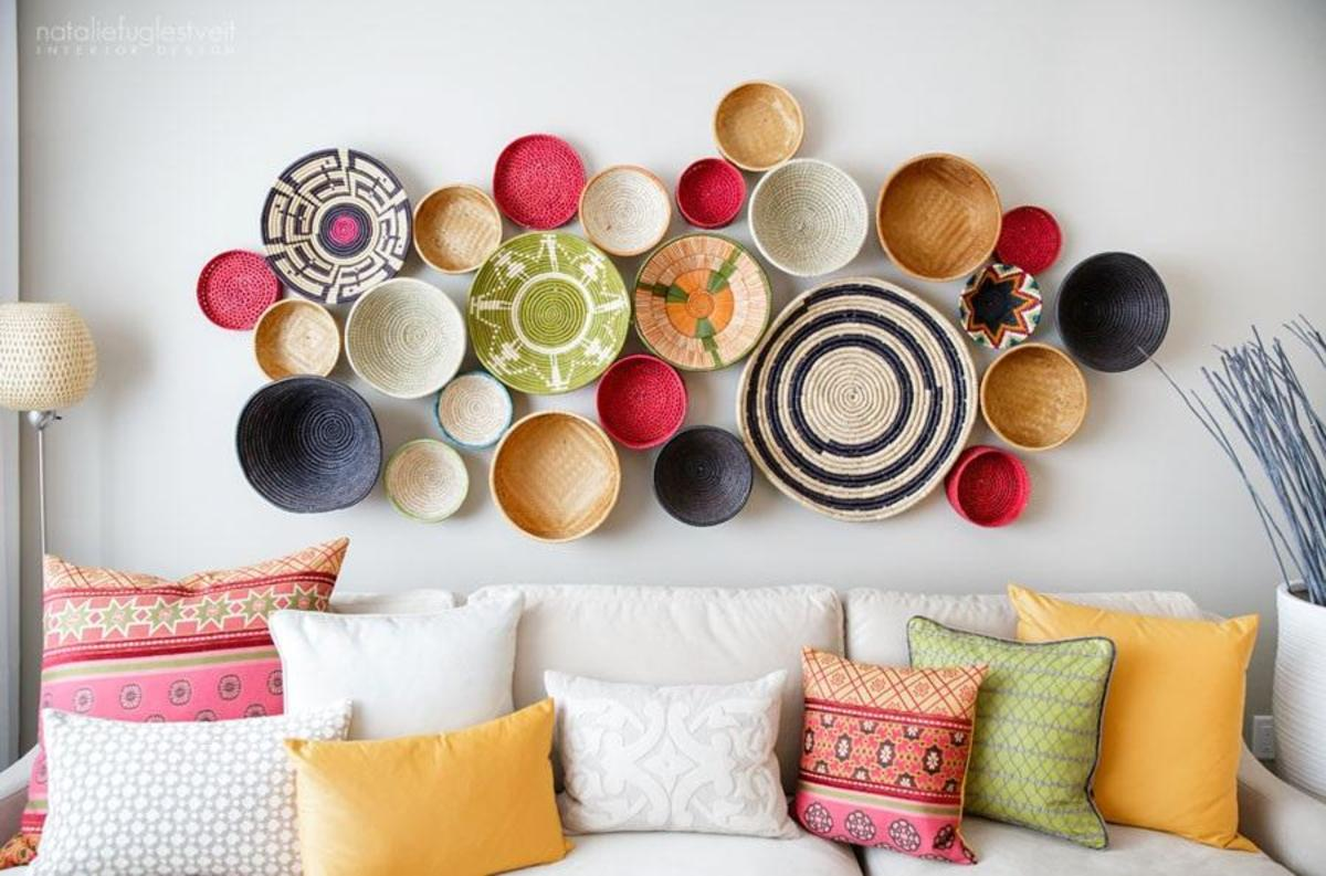 Rwanda baskets on the wall add color, texture and an exotic flair.