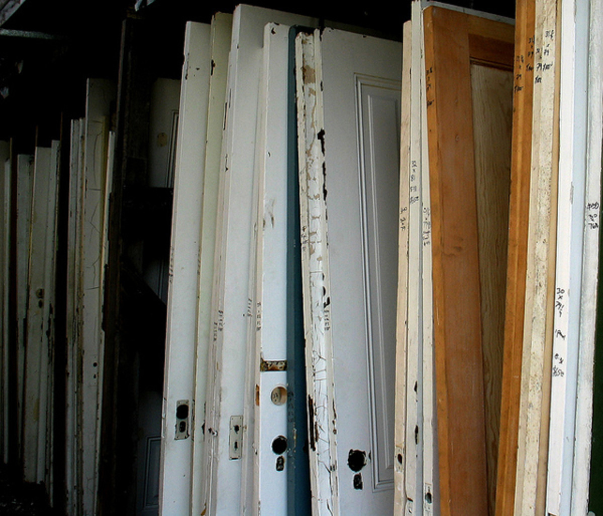 Recycled door can be used for tabletops or to replace cheap hollow core doors.