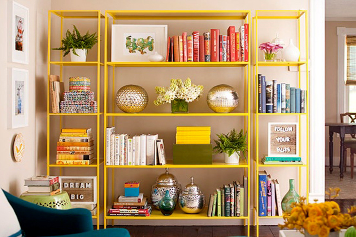 If you love color coding, arrange books in groups of similar colors.