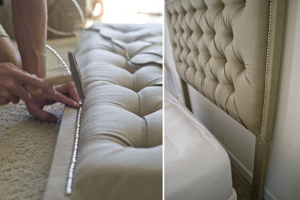 Tufted upholstery and nailhead trim add glam and sparkle.