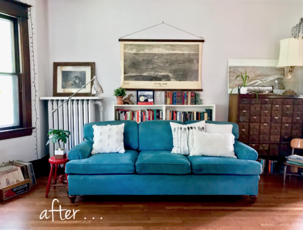 Spray dye changed the drab color of an old chenille sofa.