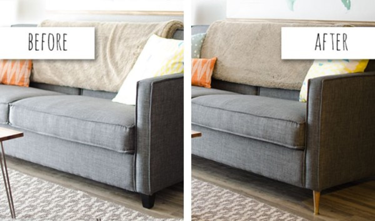 These new metal mid-century legs give this sofa a stylish look.