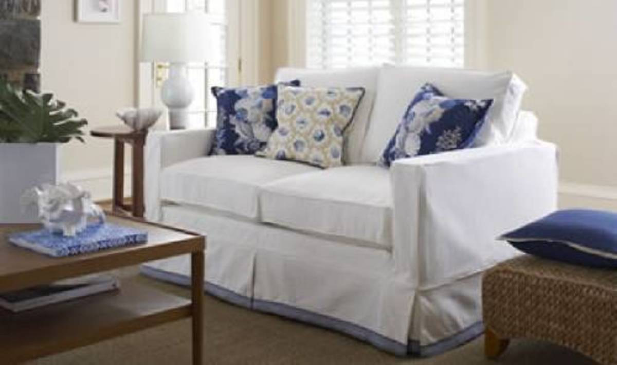 You can choose from tailored or budget-friendly single piece slipcovers.