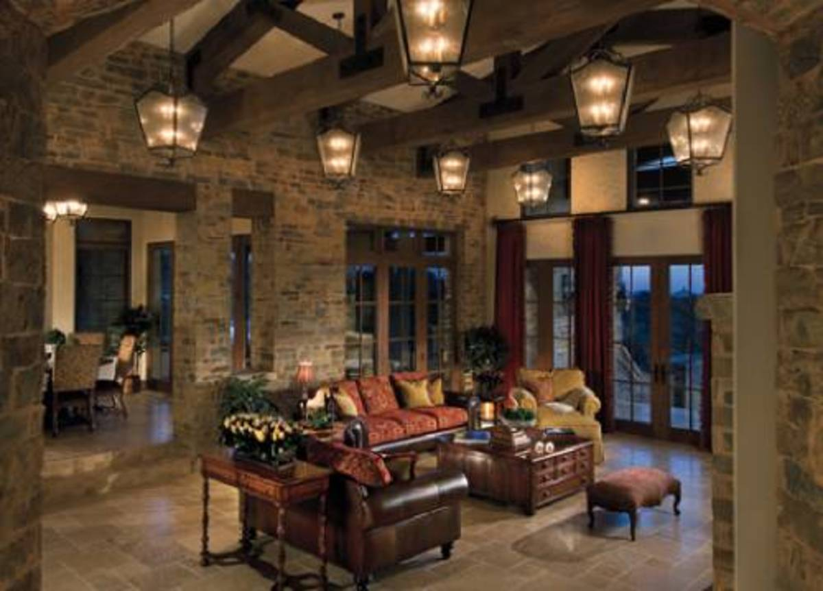 Overhead lanterns provide an old world mood for any room.