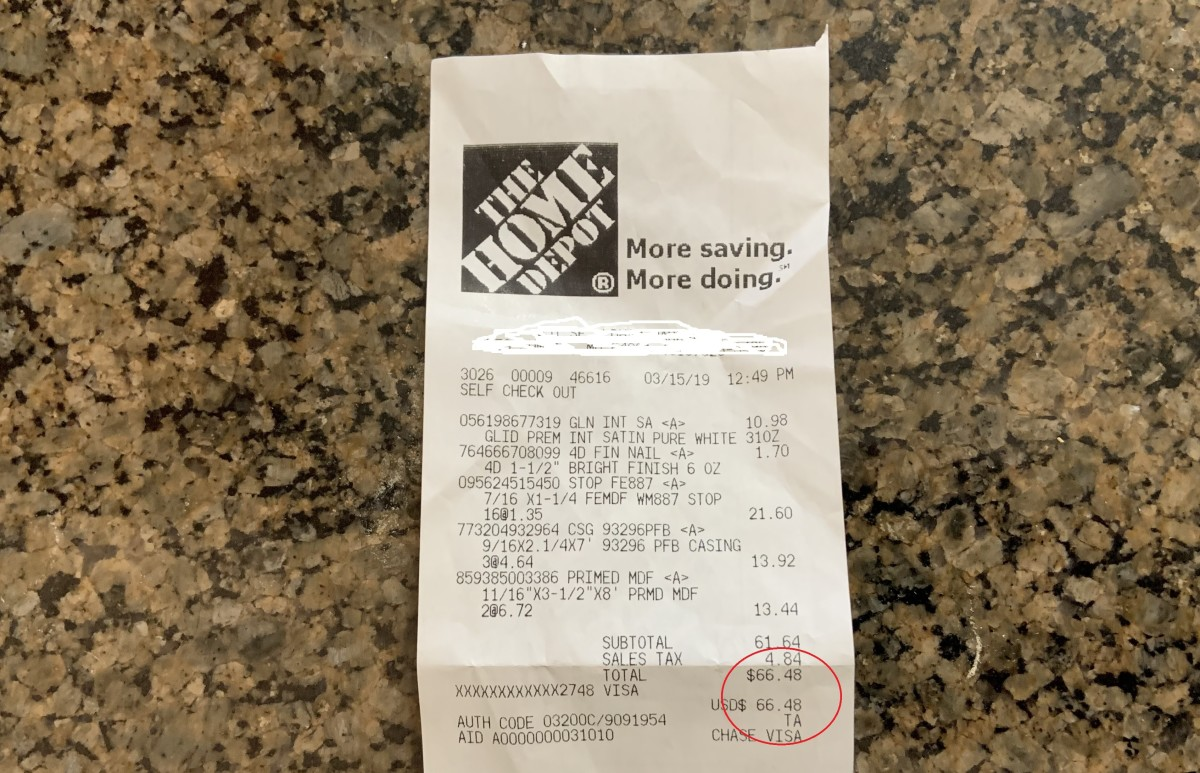 This is our receipt from Home Depot. The total was $66.48. We also had to buy a $2 tube of paintable caulk.