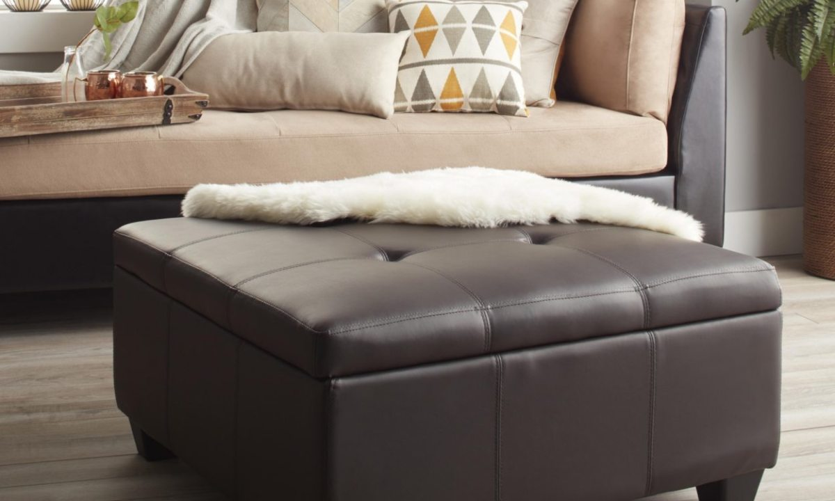 This leather ottoman has a relatively level surface that will easily balance a decorative tray.