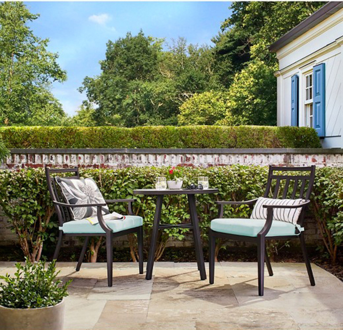 A three-piece bistro set is all you need for a compact patio.