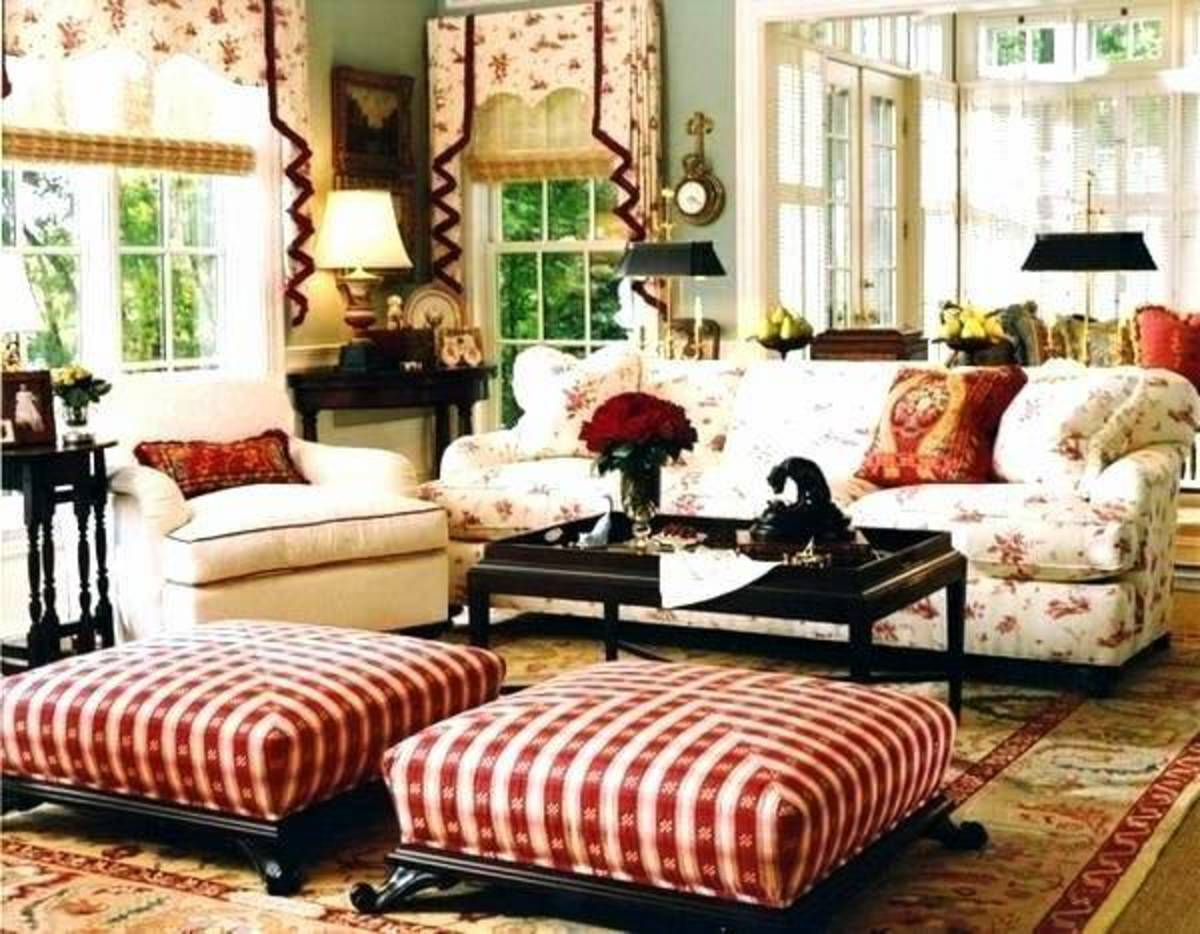 Beautiful rich colors, florals, ginghams, mahogany wood and Oriental rugs are the elements that encompass English country style.