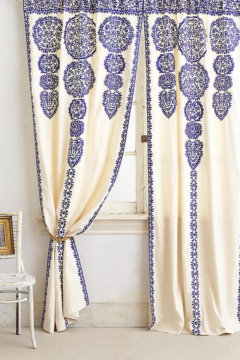 These exotic embroidered curtains give a teen's room that Bohemian flair.