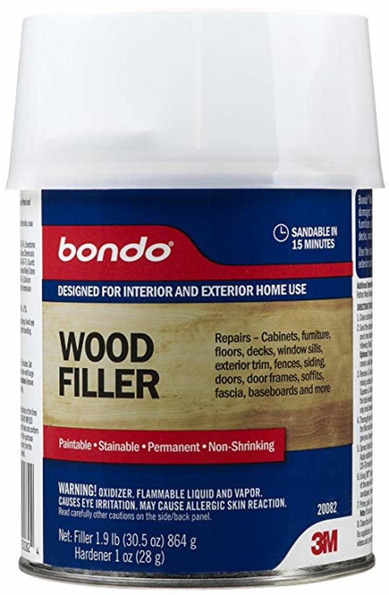 Bondo wood filler, by 3M, with cream hardener.