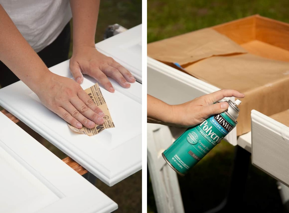 Once the paint has dried hard, do a final light sanding before applying a protective sealer.