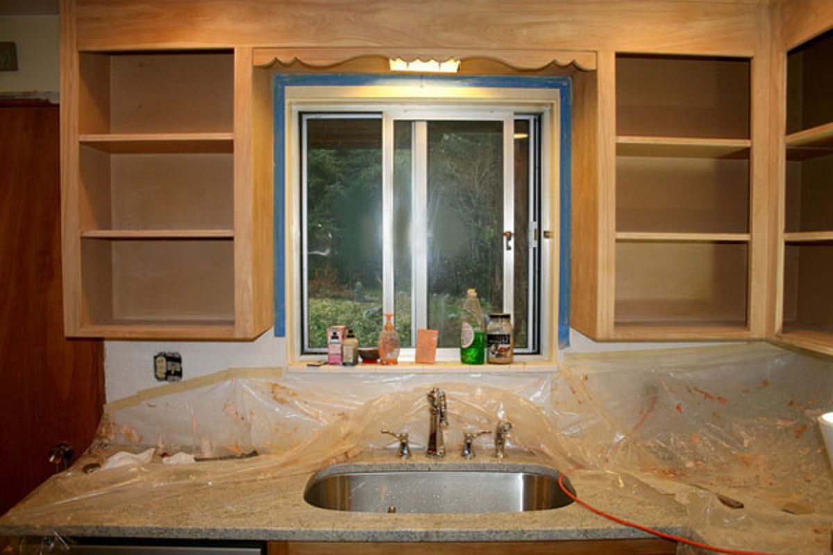 Start by remove doors, hardware and mask off countertops.