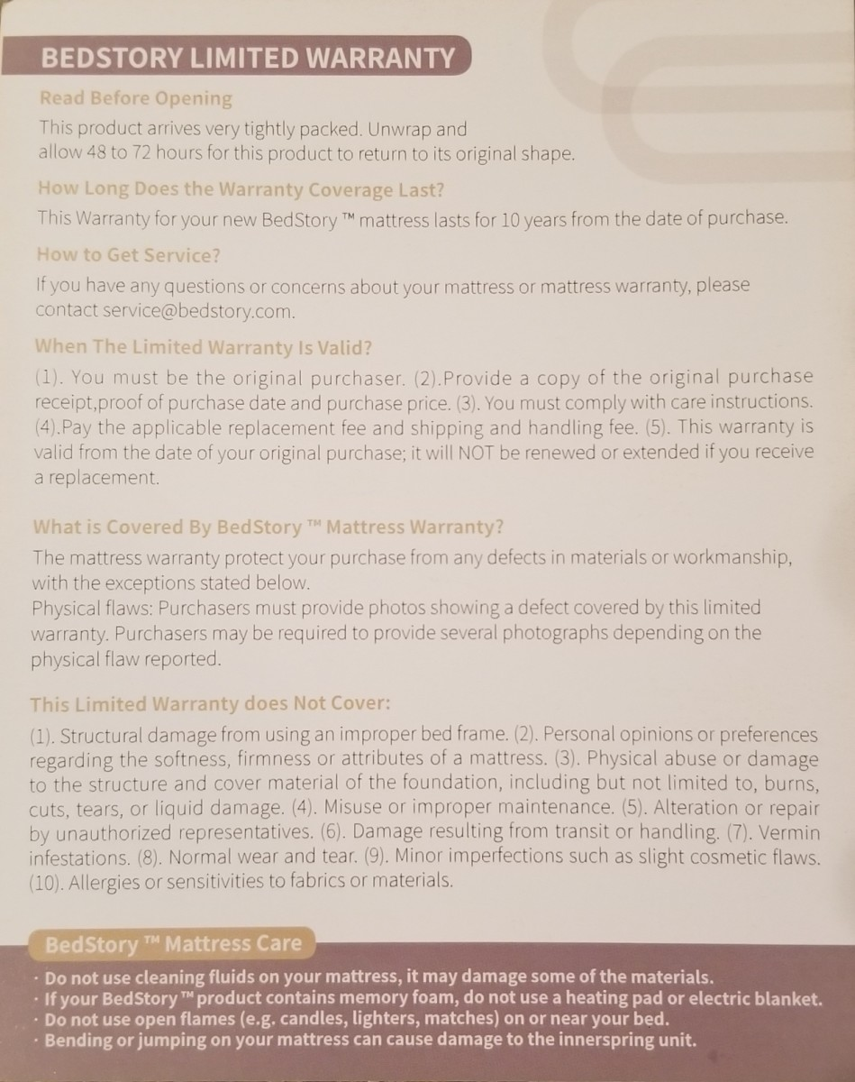 Here's the included warranty information card, which does provide some insight into the mattress's warranty. They need this information on their website!