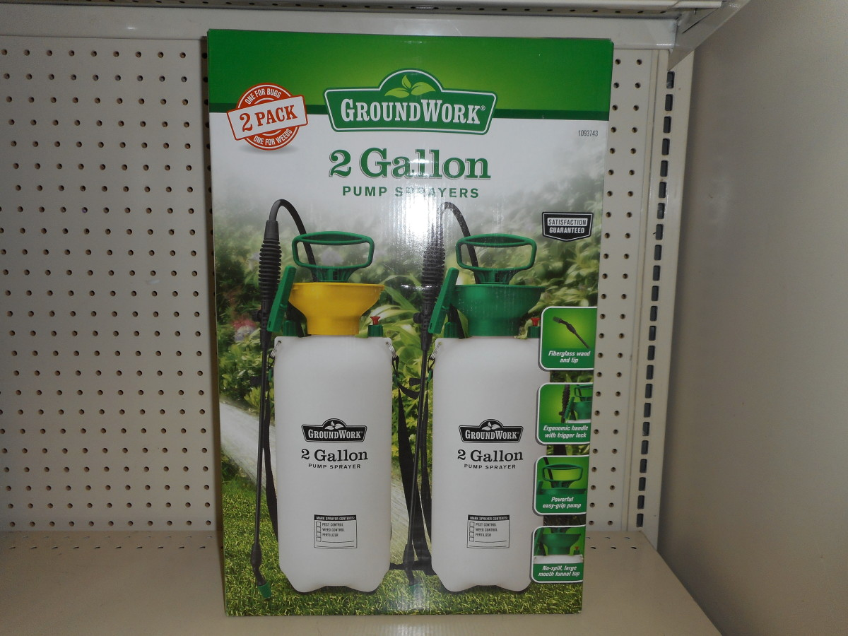 Hand sprayers come in different sizes from 1 gallon to 3 gallons.