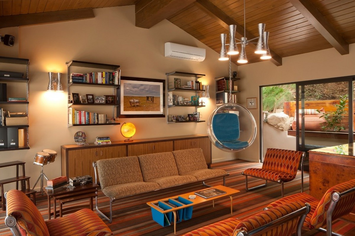 This room has design elements from each of the mid-century decades.