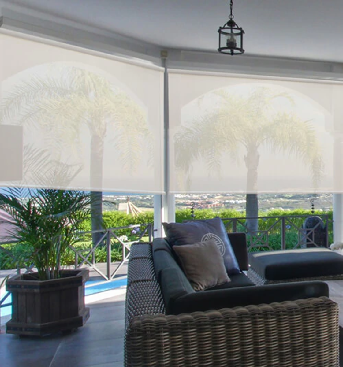 Motorized shades can be used on covered patios, gazebos and porches.