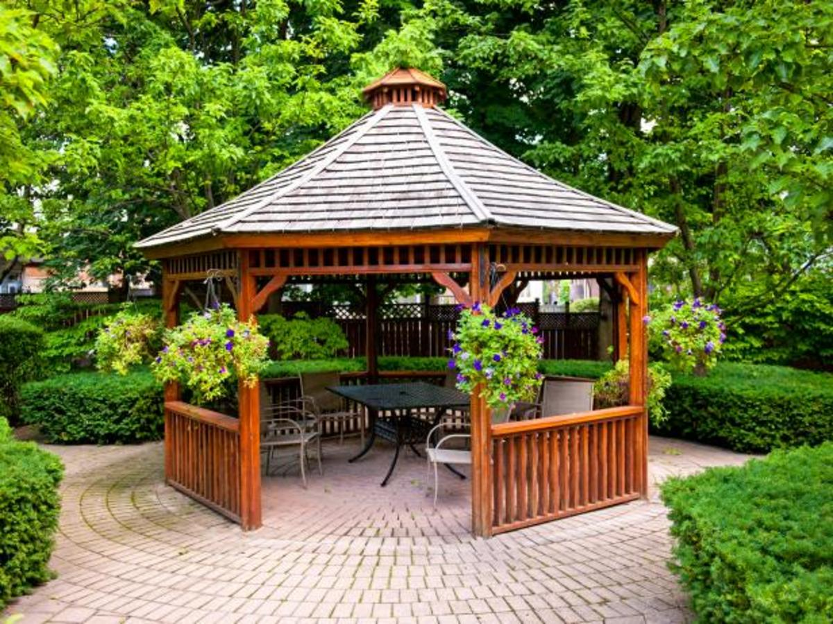 The gazebo is a charming patio cover with an architectural history.