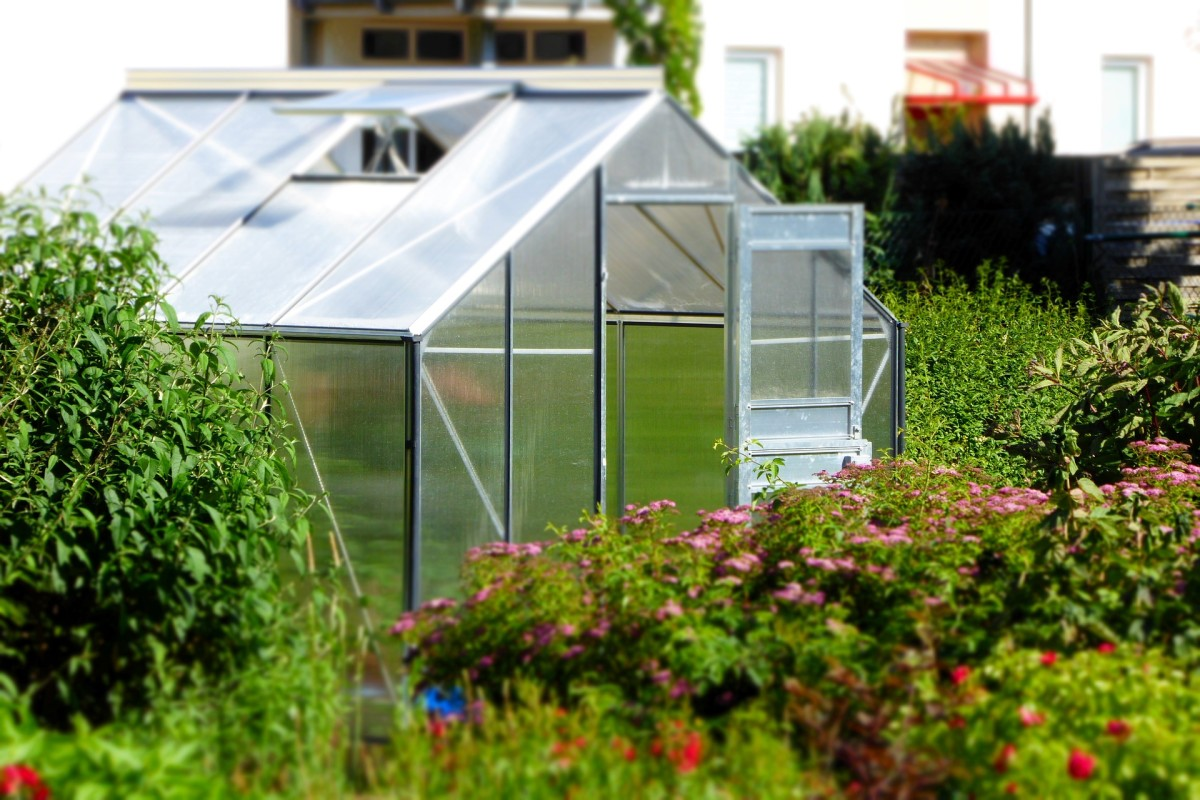 A small polyurethane garden greenhouse suitable for a home gardener or hobbyist.