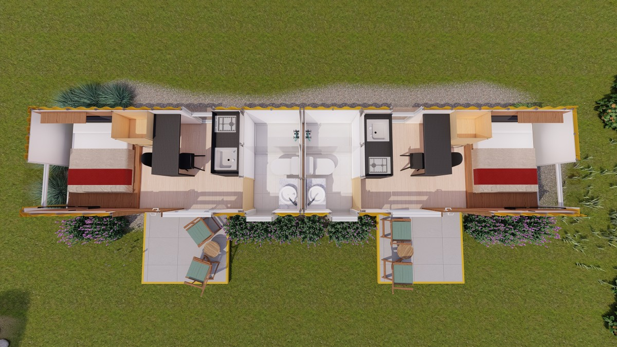 40-foot shipping container home floor plan.