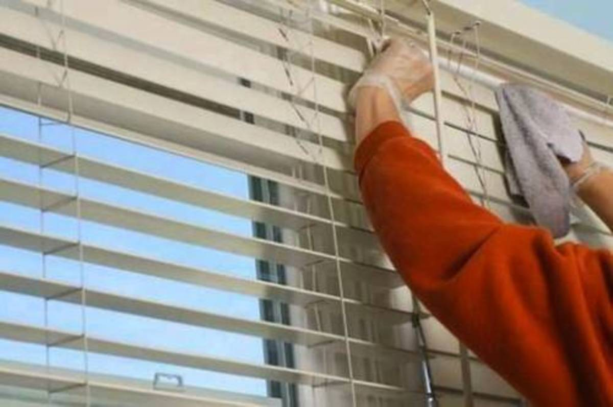 Wiping blinds with a damp rag will get the dust and sticky gunk off the blinds.