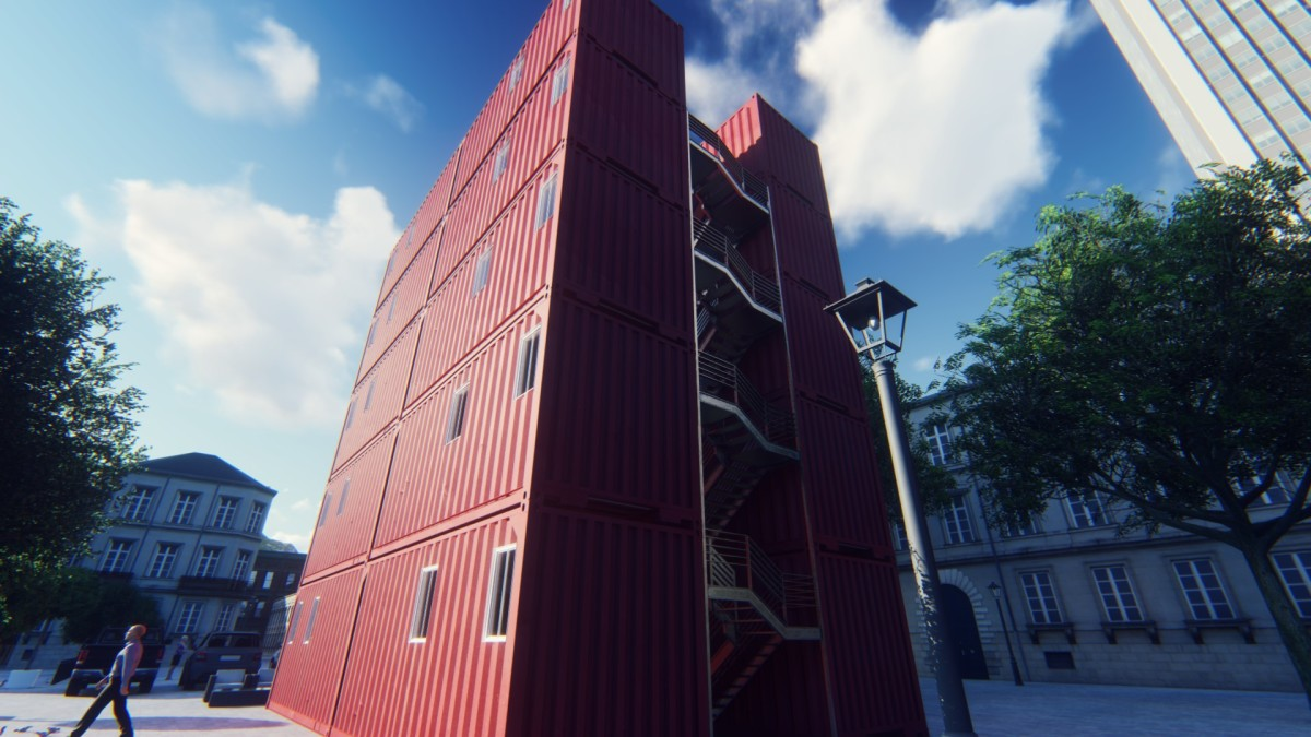 A four-bedroom shipping container apartment built from 3 x 40 feet shipping containers.