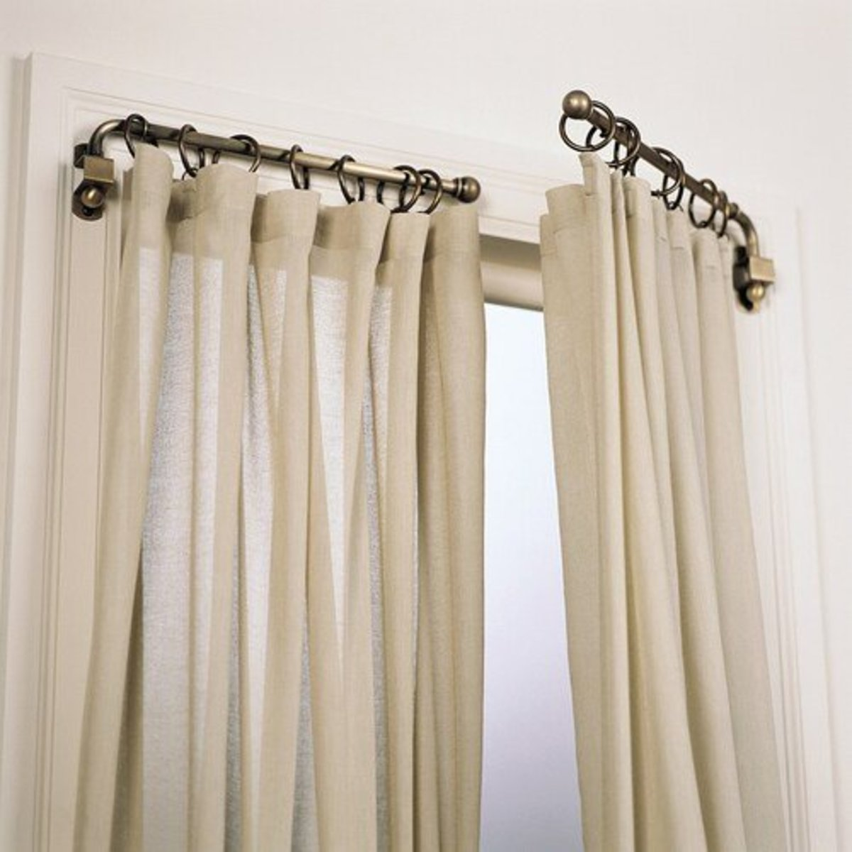 Swing arm rods are great for french doors or narrow windows.