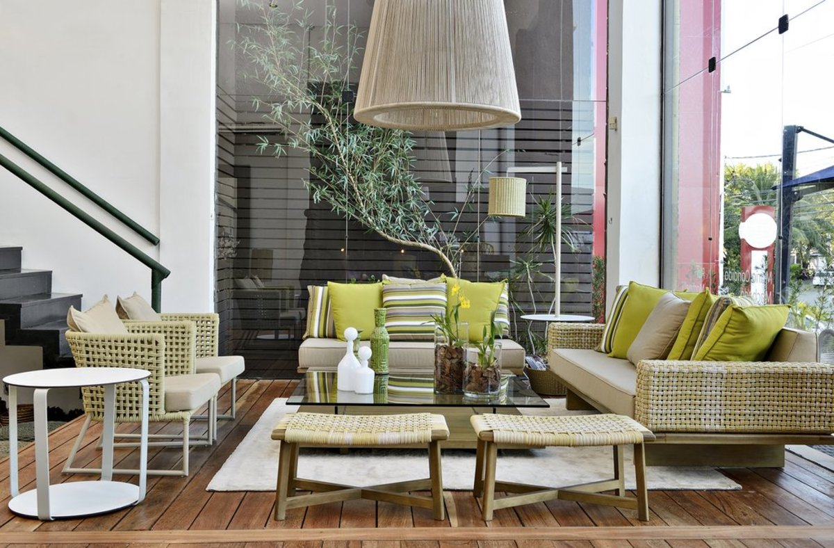 Fresh and verdant fabrics along with plants and furniture that works indoors or out.