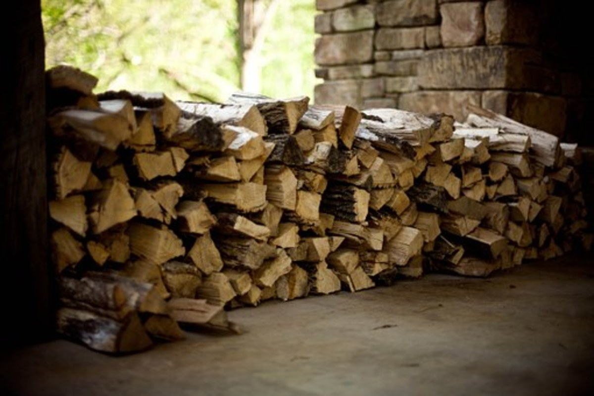 Tightly stacked firewood.