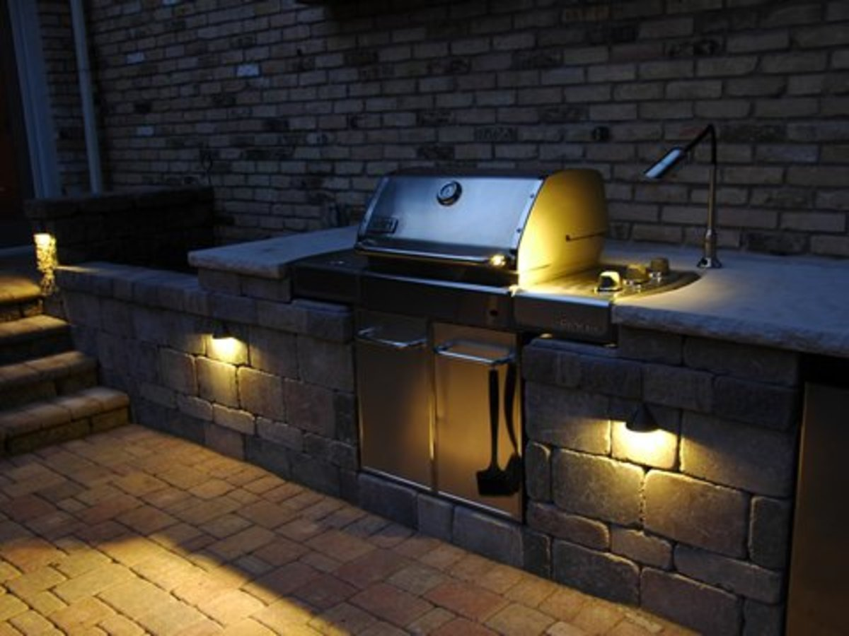 Task lighting is needed for nighttime outdoor grilling and food preparation.
