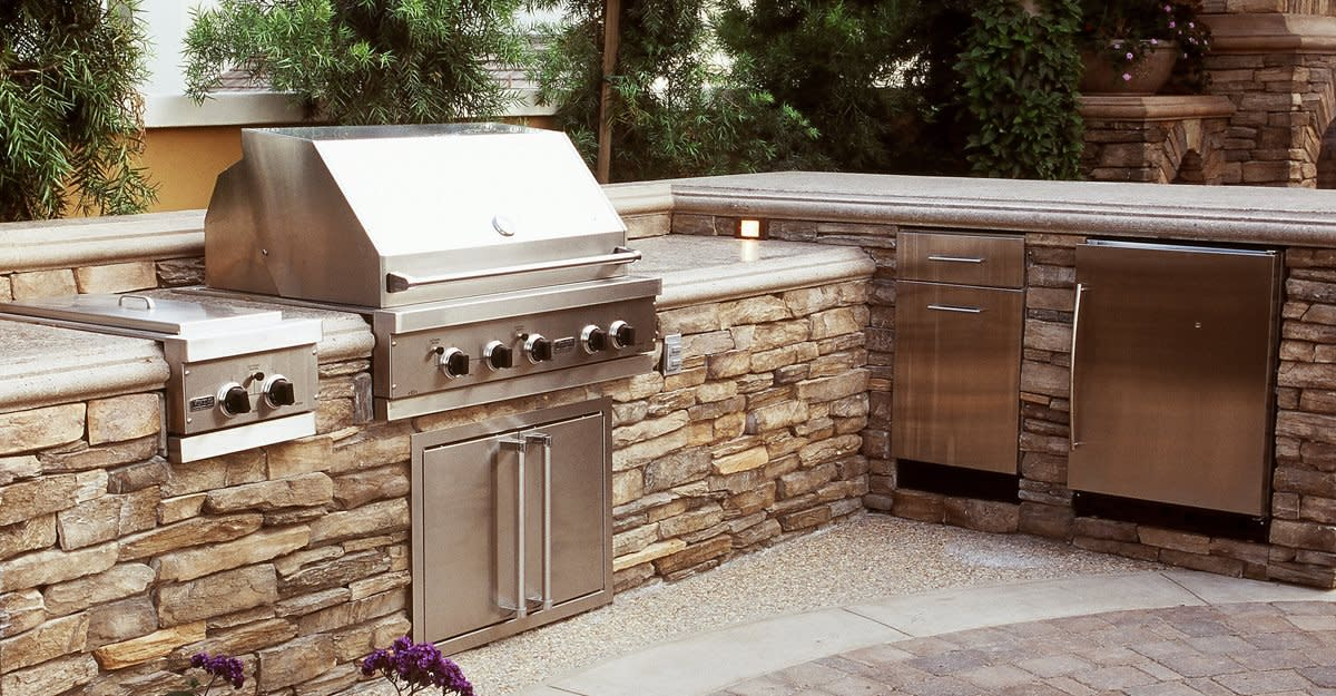 Concrete outdoor countertops are extremely durable but should be sealed each spring.