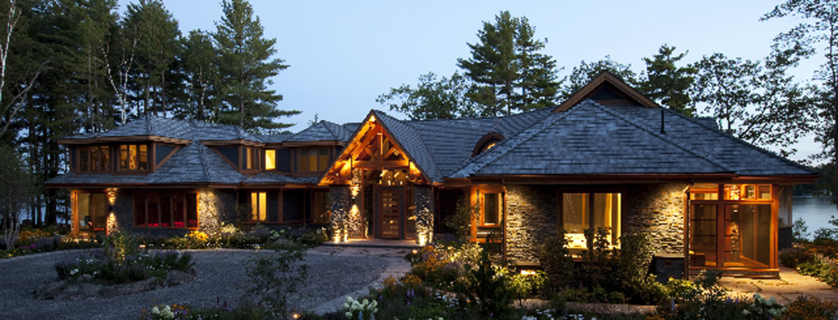 A large home with outdoor lighting has reasonable limits regarding light pollution.