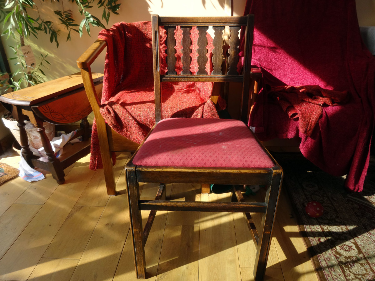 Set of four ornate chairs we inherited, waiting for renovation, three in storage in the loft with the forth now used as my wife's sewing chair.