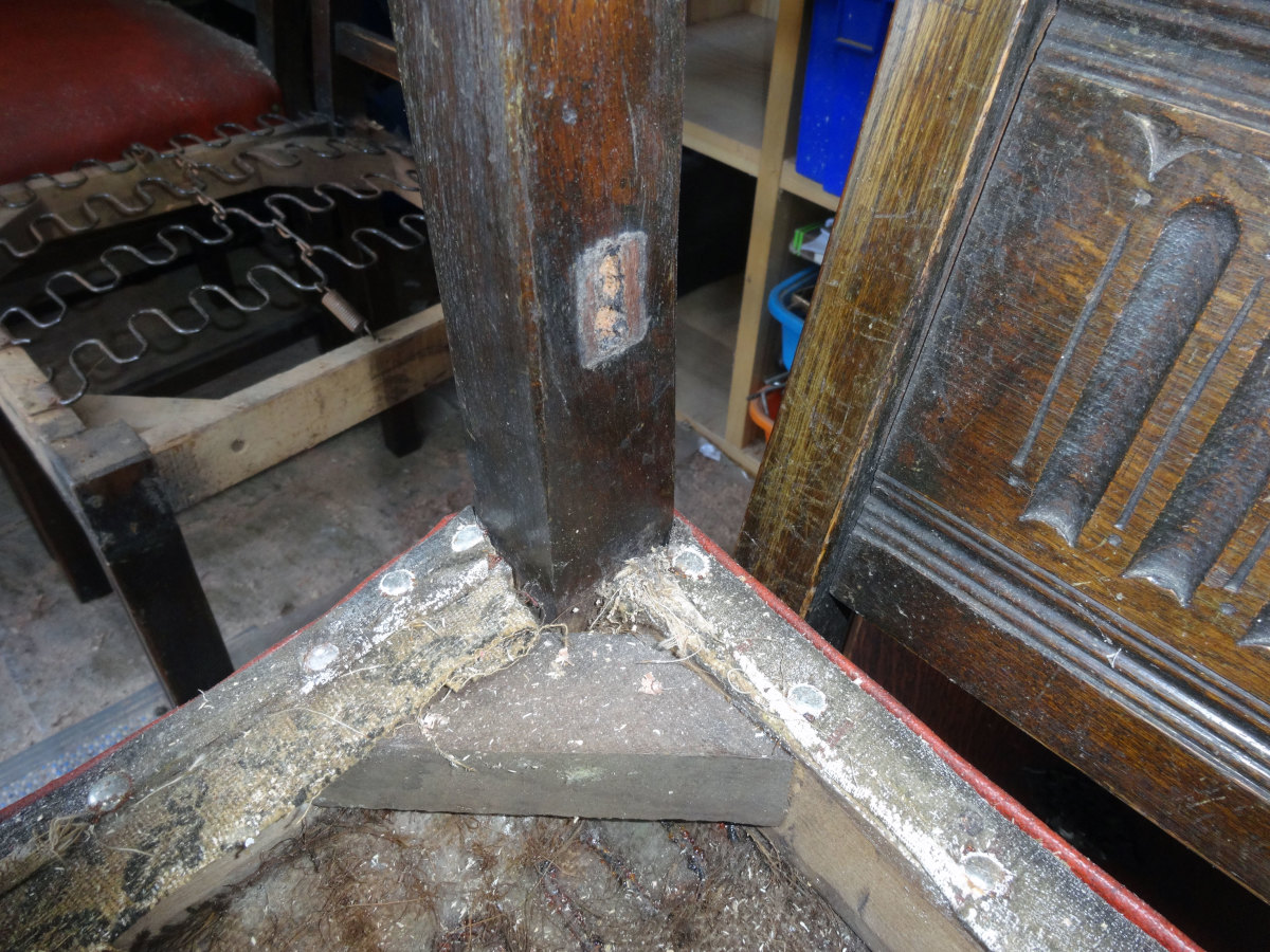 Visible mortise joint, where the front stretcher on one of the chairs used to be fitted.