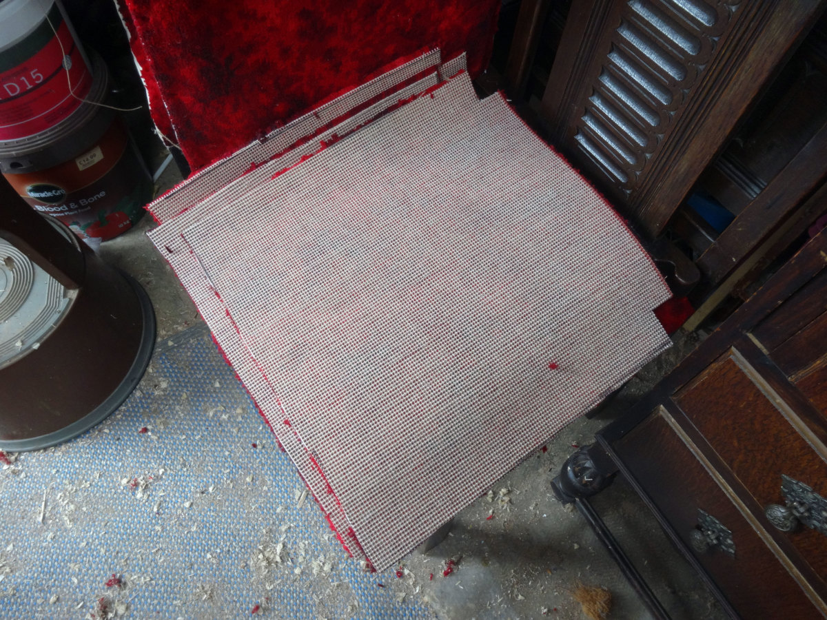 Squares cut from the Axminster carpet off cuts, ready for use; upside down and showing the weft and warps on the underside.