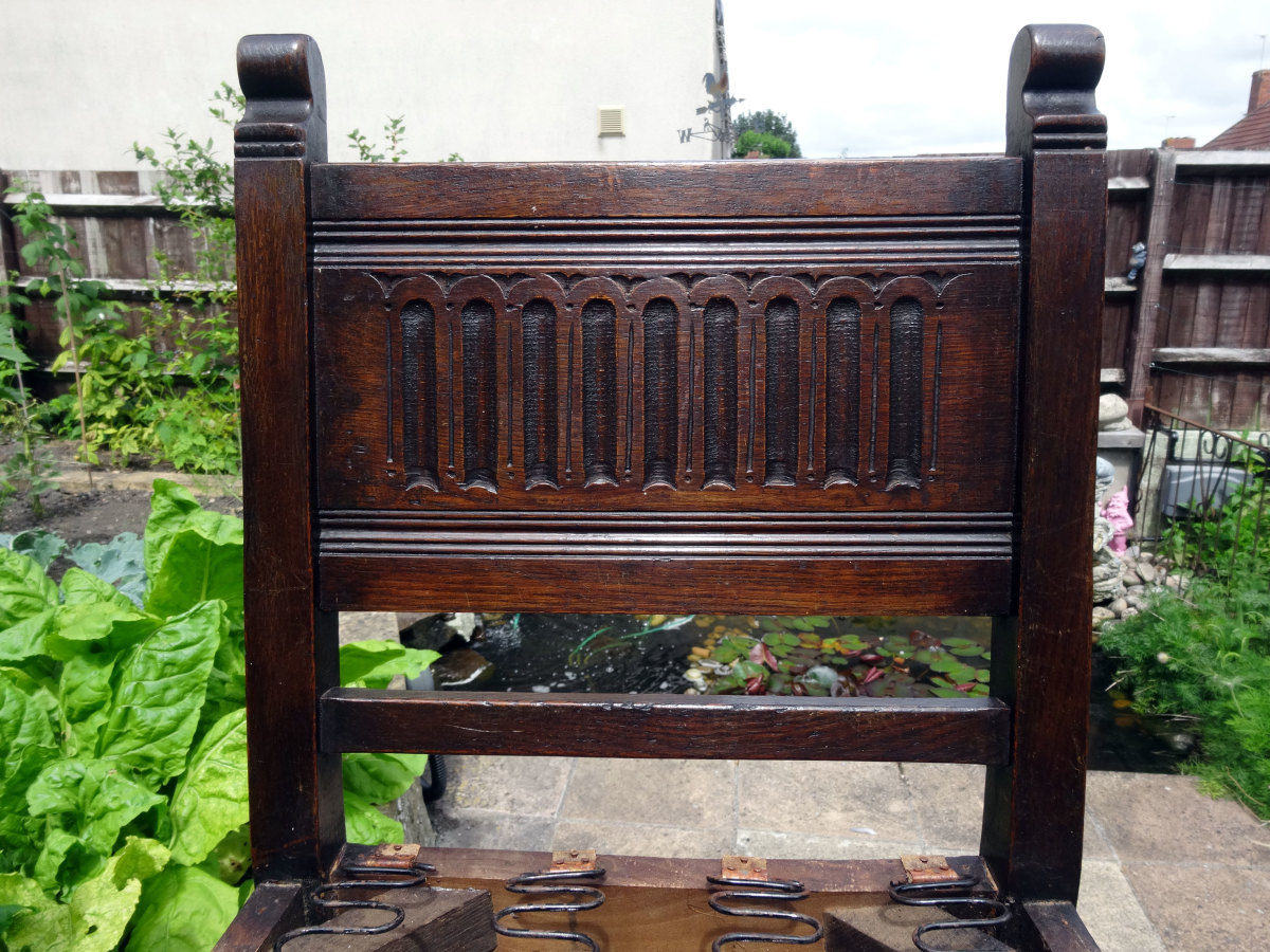 Back of chair after being waxed and polished with bees wax.