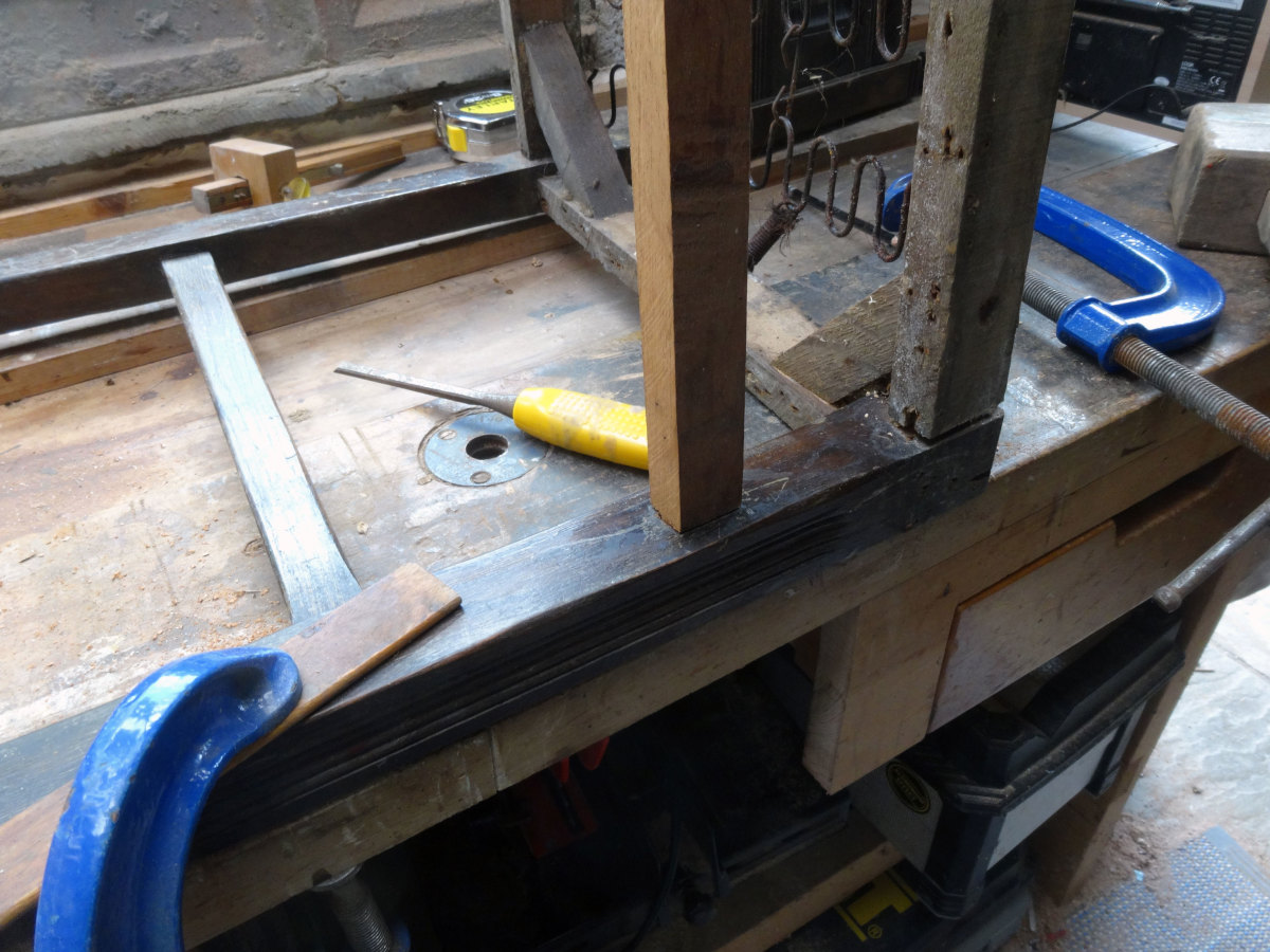 Test fitting the tenon and mortise joint, to make fine adjustments.