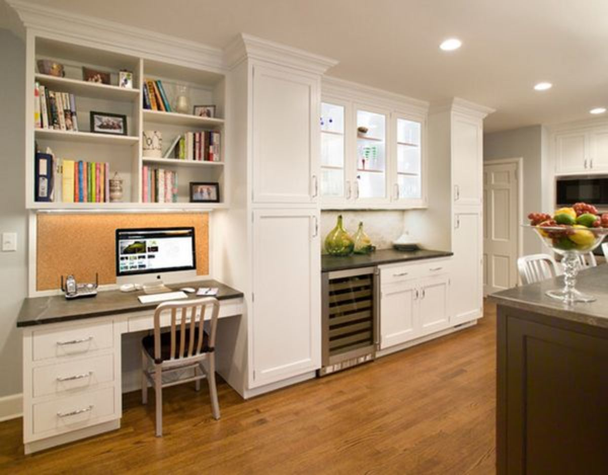 Incorporate a functional built-in desk for bill paying and checking out recipes online.